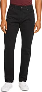 Men's 5 Pocket Solid Slim-Straight Flat Front Cotton Twill Pant