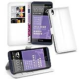 Cadorabo Hülle für HTC Desire 816 - Hülle in ARKTIS WEIß – Handyhülle mit Kartenfach & Standfunktion - Hülle Cover Schutzhülle Etui Tasche Book Klapp Style