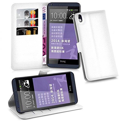 Cadorabo Hülle für HTC Desire 816 in ARKTIS WEIß - Handyhülle mit Magnetverschluss, Standfunktion & Kartenfach - Hülle Cover Schutzhülle Etui Tasche Book Klapp Style