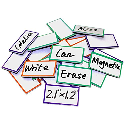"""ZHIDIAN Magnetic Dry Erase Labels 2.1"""" x 1.2"""", 36 Pcs Magnets for Whiteboard, Blank Name Tags Plates for Classroom, Lockers, Fridge and Behavior Chart, Writable and Reusable Magnets"""