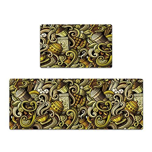 IADZ Fußmatte, wasserdichter PVC-Küchenteppich Anti-Rutsch-Bodenmatte PU-Leder-Fußmatte Ölfeste Lange Küchenmatte Badteppich