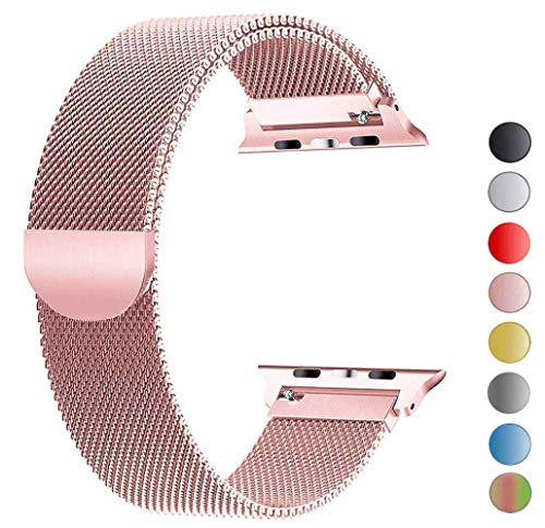 VIKATech Compatible Cinturino per Apple Watch Cinturino 44mm 42mm, Cinturino Orologio Bracciale in Acciaio Inossidabile Cinghia Banda Bracciale per iWatch Series 5/4/3/2/1 Or Rose