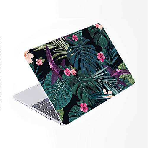 SDH Newest for MacBook Pro 13 inch Case 2020 Release Touch Bar & ID Model: A2338/A2289/A2251, Plastic Pattern Hard Shell & Laptop Sleeve Bag & Keyboard Cover Skin 4 in 1 Bundle, Plant Leaves 3