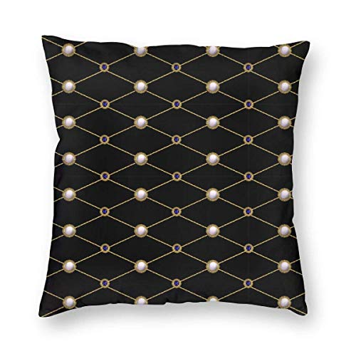 N\A Textile Embroidered Patches Sequins Paisley Vintage Throw Pillow Covers Cotton Sofa Decorative Cushion Cases for Home Décor, Soft Square Pillowcase