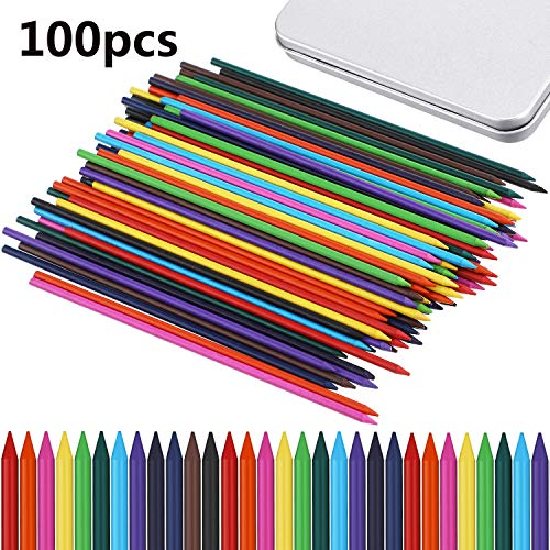 100 Pieces 2.0 mm Lead Refills 10 Assorted Colors, 90 mm Tall, Break and Smudge Resistant Replacement Lead for Mechanical Pencil