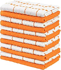 Set includes 12 cotton dish towels with six orange and six white dobby weave style kitchen towels measuring 15 by 25 inches Woven with 100% ring spun cotton making these towels durable and strong for all household chores Made from natural materials a...