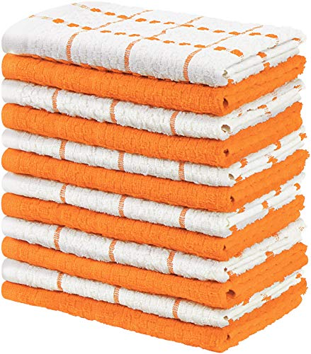 Utopia Towels Kitchen Towels, 15 x 25 Inches, 100% Ring Spun Cotton Super Soft and Absorbent Orange Dish Towels, Tea Towels and Bar Towels, (Pack of 12)
