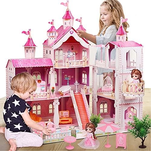 LADUO Casa de muñecas, con 36 Piezas de Accesorios para Muebles y Luces. 3 Pisos de Juguete de casa de muñecas Grande (Altura 83 * Longitud 74 * Ancho 63cm) para niñas de 3 a 6 años(3 Pisos)