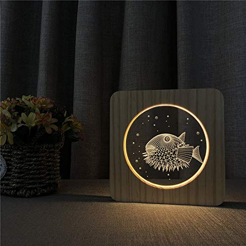 Only 1 Piece Puffer Fish Abstract 3D LED Acrylic Wooden Night Light Table lamp Switch Control Engraving lamp for Children Room Decoration