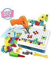 Symiu Mosaique Enfant Puzzle 3D Construction Enfant Jeu Montessori Kit Mosaique 223 Pcs pour Enfant Fille Garcon 3 4 5 Ans