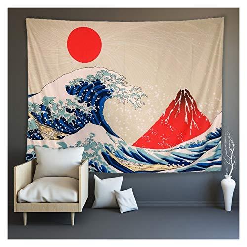 Mirui Japonés Ukiyo-E Tapestry Sea Ola koi Pared tapicería Grande Ballena Animal Puesta de Sol Paisaje tapicería Colgante decoración para Dormitorio Dormitorio Sala de Estar