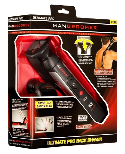 MANGROOMER - ULTIMATE PRO Back Shaver with 2 Shock Absorber Flex Heads, Power Hinge, Extreme Reach Handle and Power Burst