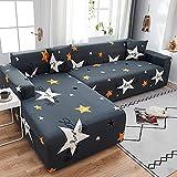 WXQY Sofá elástico Moderno Cubierta de Chaise Longue Sala de Estar en Forma de L Esquina de sección Transversal Funda de sofá Antideslizante Juego de sofás elásticos A1 3 plazas