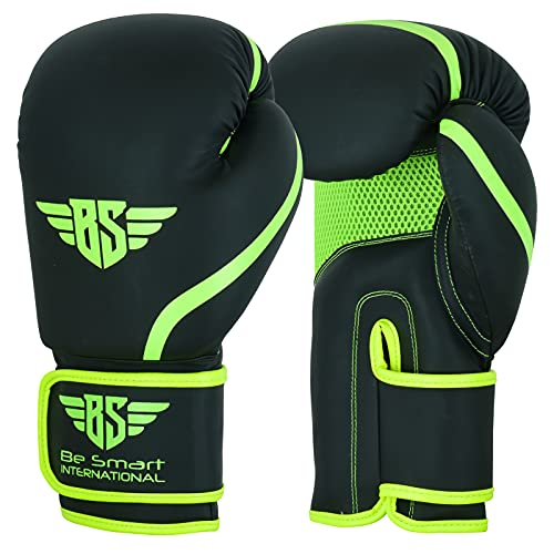 Be Smart® Professional Boxing Gloves For Adults Youth Kids Men and Women Mitts Leather Pro Gel Muay Thai MMA Kick Boxing Sparring Grappling Fighting & Training Punch Bag (Matte Green, 6oz)