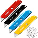 REXBETI 4-Pack Utility Knife, Heavy Duty Aluminum Shell Retractable Box Cutter for Cartons, Cardboard and...