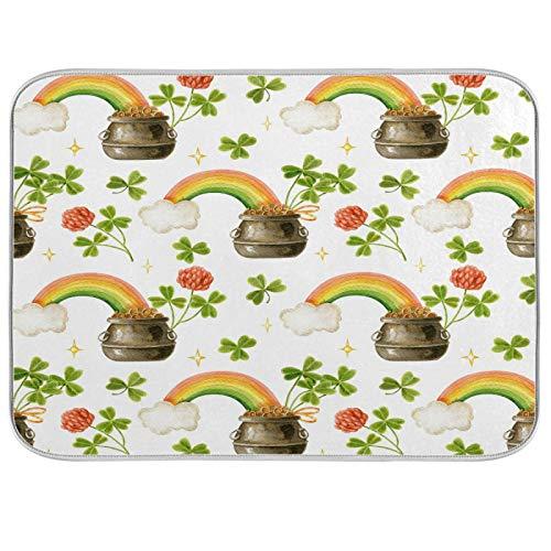xigua St.Patrick'sDay - Alfombrilla de secado para platos de cocina, 40,6 x 45,7 cm, diseño de flores y hucha de dinero, lavable a máquina