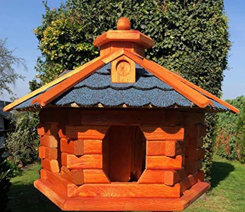 DARLUX Vogelhaus von S bis XXL Futterhaus Vogelhäuschen mit oder ohne Ständer in Braun mit Rot, Grün oder Blau (Gr. XL – ohne Ständer, Blau/Braun)