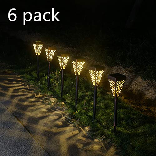 Lampes solaires de rue Lampes solaires d'extérieur étanches Pack de 6 piquets solaires de jardin Lampes solaires au sol Cadeaux de jardin Pelouse, patio, jardin, trottoir Lampes solaires de paysage