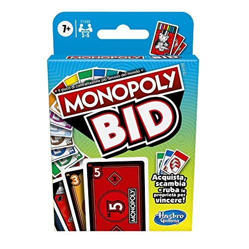 Hasbro Monopoly Bid Game, gioco di carte rapido per 4 giocatori, gioco per famiglie e bambini dai 7 anni in su