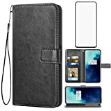 Asuwish Compatible with OnePlus 7T Pro OnePlus7TPro 5G Mclaren Edition Wallet Case Tempered Glass Screen Protector Leather Flip Cover Card Holder Cell Phone Cases for One Plus 7TPro 1Plus 1 + 1+ Black