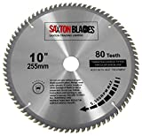 Saxton TCT lama per sega 255 mm x 80T Fits Evolution Rage seghe – include 25.4 mm an...