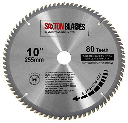 Saxton-TCT25580T-Lame de scie circulaire à bois, 255x 30mm, alésage 30mm, 80dents pour Bosch Makita Dewalt