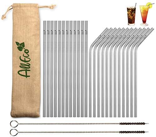 AllEco® Edelstahl Strohhalm wiederverwendbar 24er Set + 2 Reinigungsbürsten + Eco-Beutel - Premium-Qualität, umweltfreundlich, nachhaltig, wiederverwendbar & plastikfrei (12 gerade / 12 gebogen)