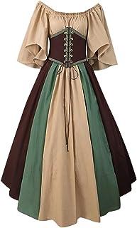 Vestido de Halloween, Vestido de Corbata con Manga de Mariposa y Hombros Descubiertos de Gran tamaño para Mujer, Elegante Vestido de Noche de Estilo Medieval
