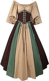 HomeMals Dress Maxi for Women Medieval Retro Stitching Flying Sleeves Tie Waist Waist Swing Skirt One Word Shoulder Dress