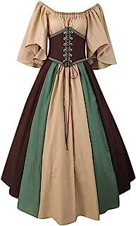 SALUCIA Damen Renaissance Carmen Kleid Retro Trompetenärmel Bodenlanges Kostüm Gewand Mittelalter Viktorianisches Prinzessin Kleidung Große Größen Gr.34-48