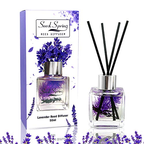 Seed Spring Reed Diffuser Set Lavender Aromatherapy Oil Effectively Improve Sleep Soothe Mood stabilize Nerves and purify The air 50 ml / 1.7 oz