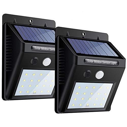 Solar Lights 2 PACK, 20 LEDs Sensor de movimiento Wall Light, Bright Security Night Lights Auto encendido/apagado, Sensor exterior resistente a la intemperie