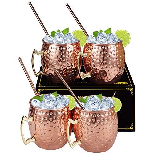 Juego de 4 tazas de cobre seguras para alimentos con pajita hecha a mano de cobre puro, taza de cocina para comer y entretener, ideal para regalo