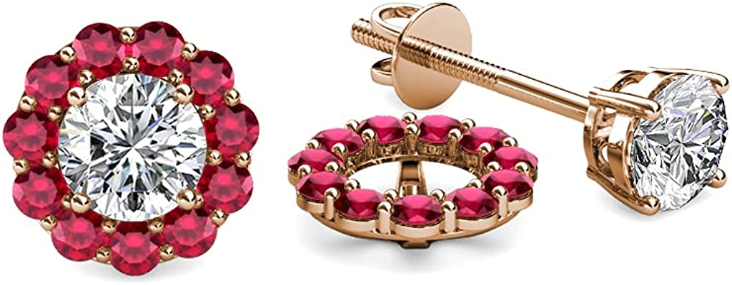 TriJewels Ruby Halo Jacket for Stud Earrings 0.57 ct tw in 14K Rose Gold