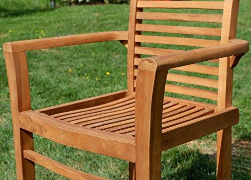 ASS Teak Set: Gartengarnitur Gartentisch 150x80 cm + 1 Bank 150 cm für 3 Personen + 2 Sessel Serie JAV-Alpen - 8