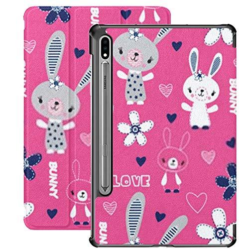 Funda para Galaxy Tab S7 Funda Delgada y Ligera con Soporte para Tableta Samsung Galaxy Tab S7 de 11 Pulgadas Sm-t870 Sm-t875 Sm-t878 2020 Versión, Lindo patrón Infantil Bunny Flowers Vector