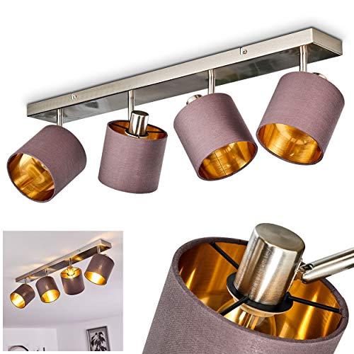 verstellbare Deckenleuchte Alsen, Deckenspot aus Stoff/Metall in Taupe-/und Goldfarben, 4-flammig, 4 x E14 max. 28 Watt, Schirm Ø14 cm, beliebig dreh-/schwenkbar, LED geeignet