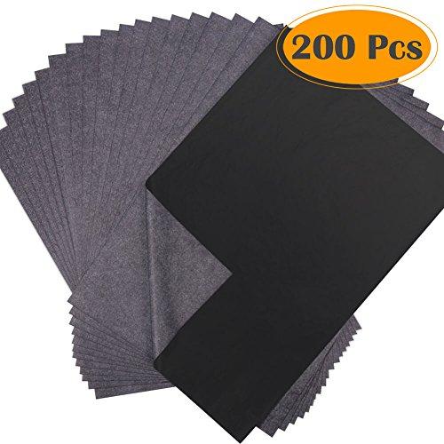selizo 200Blatt schwarz Carbon Transfer Transparentpapier graphit Papier für Holz, Papier, Leinwand und andere Art Oberflächen (22,9x 33cm)