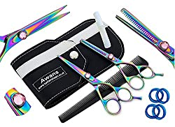 """Awans Professional Hair Cutting & Thinning Scissors Set with high quality stainless steel Sharp Razor Edge fine adjustment Tension Screw Titanium Hairdressing Salon Scissors, Set of 5,5 """"thinning scissors"""