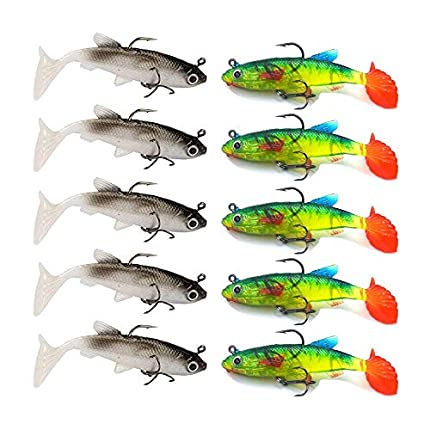 HPiano 10 pcs/Lote Señuelos Blandos 8 cm 12,5 g Cebo Artificial Señuelos de Pesca Lubina Carp Plomo, Señuelos Artificiales, Wobblers para la Pesca de Peces Depredadores como el carbón, la Trucha