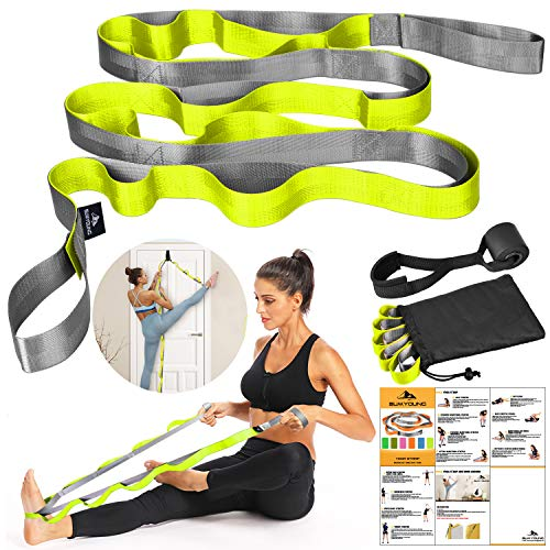 Yoga Strap, Stretch Strap with 12 Loops, Nonelastic Stretch Bands for Exercise, Physical Therapy, Pilates, Dance and Gymnastics, Extra Thick, Durable, Comes with Travel Bag and Door Anchor-Yellow