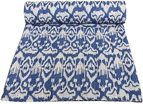 Janki Creation Blue Ikat Print Kantha Blanket Bohemian Bedding Boho Hippie Kantha Bedspread product image