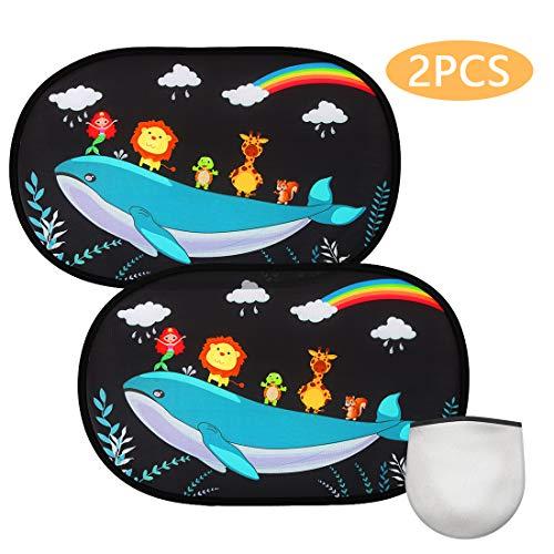 FEALING Sonnenschutz Auto für Baby Mit UV Schutz, 【2 Stück】 48 * 32.5cm Selbsthaftende Sonnenblenden für Kinder, Sonnenblende für Seitenscheiben Autofenster(Wildlife)