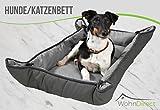WohnDirect 2in1 Hundebett und Hundedecke I Hundekissen geeignet für Hunde und Katzen I waschbar, strapazierfähig und beidseitig verwendbare Hundedecke I hellgrau/dunkelgrau 65 x 100 cm