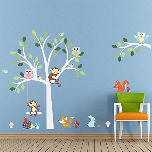 ufengke Comic-Tiere Niedliche Eulen Affen und Fuchs Baum Wandsticker, Kinderzimmer Babyzimmer Entfernbare Wandtattoos Wandbilder