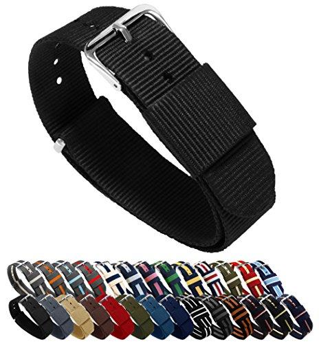 Barton horlogebandje, keuze uit kleuren en lengte (18 mm, 20 mm, 22 mm of 24 mm), banden van ballistisch nylon