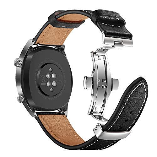 AISPORTS Compatibel voor Samsung Galaxy Watch 46mm Band Lederen 22mm RVS Vlinder Gesp Armband Vervangende Band voor Huawei Horloge GT/Honor Horloge Magic/Samsung Gear S3 Frontier/Classic, Zwart