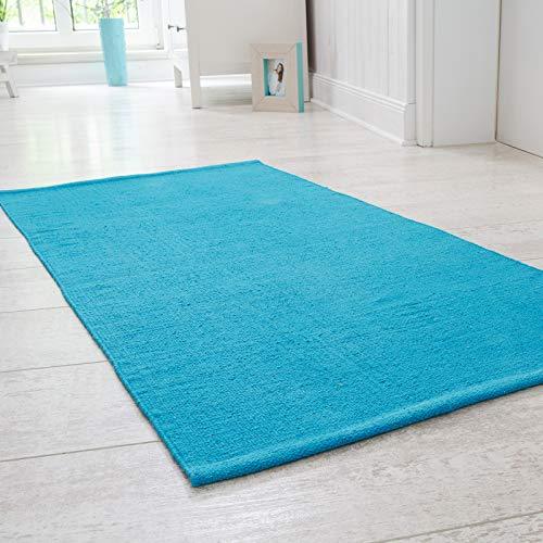 Handwebteppich Milo, Läufer aus 100% Baumwolle, pflegeleicht & waschbar, einfarbig, Farbe:Türkis;Größe:60x120cm