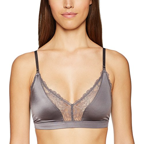 Amazon Brand - Mae Women's Lace Trim Triangle Bralette with Convertible Straps,Charcoal Grey,X-Large