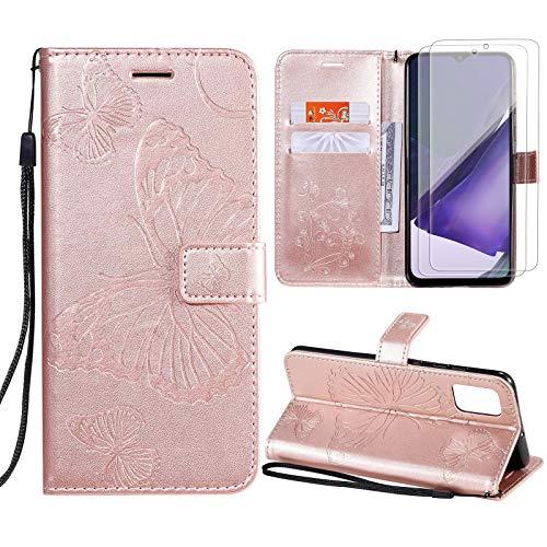 Vansdon Funda Samsung Galaxy A12, [2 * Protector de Pantalla de Vidrio Templado], Funda clásica de Piel sintética con Forma de Mariposa, Funda Tipo Billetera con Tapa - Oro Rosa